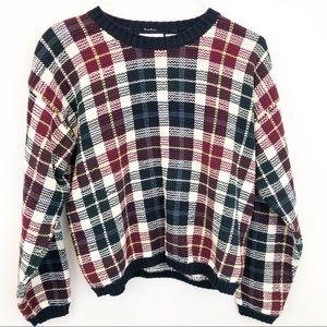 Sweaters - Grandpa Plaid Cotton Cropped Crewneck Sweater